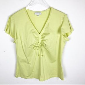 St. John Sport Marie Lime Green Blouse Top Large